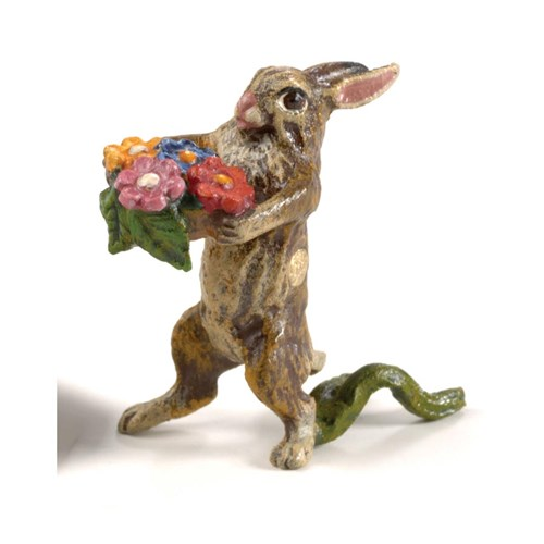 Austrian Bronze Rabbit with Flower Basket Figurine