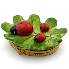 Green Leaf with Three Ladybugs Limoges Box