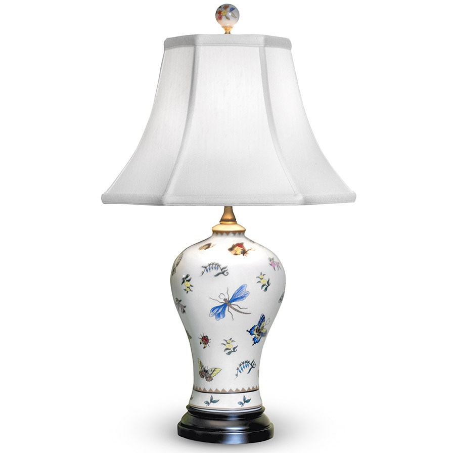 Amazing Porcelain Vase Lamp With Butterflies. Hover To Zoom
