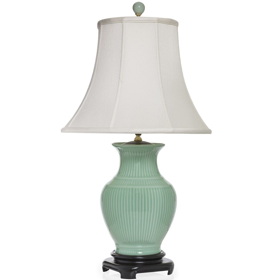 Striped Celadon Porcelain Vase Lamp Table Desk Lamps