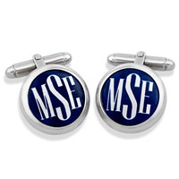 Sterling Silver Monogrammed Cufflinks, White on Cobalt