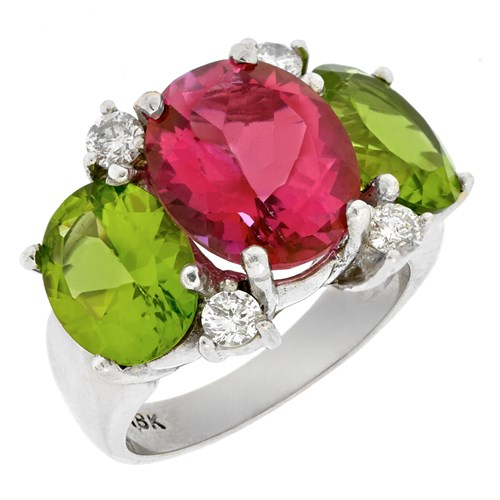 18k Three Stone Ring with Pink Topaz, Peridot & Diamonds