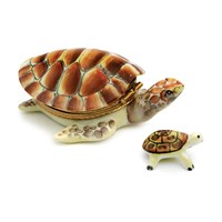 Red Turtle & Baby Limoges Box