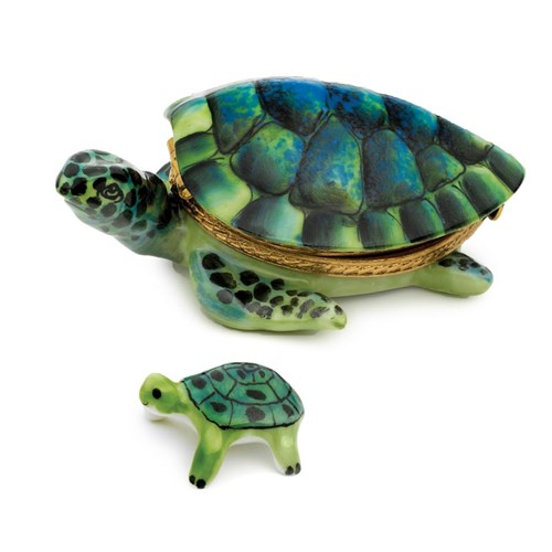 Deep Green Turtle & Baby Limoges Box
