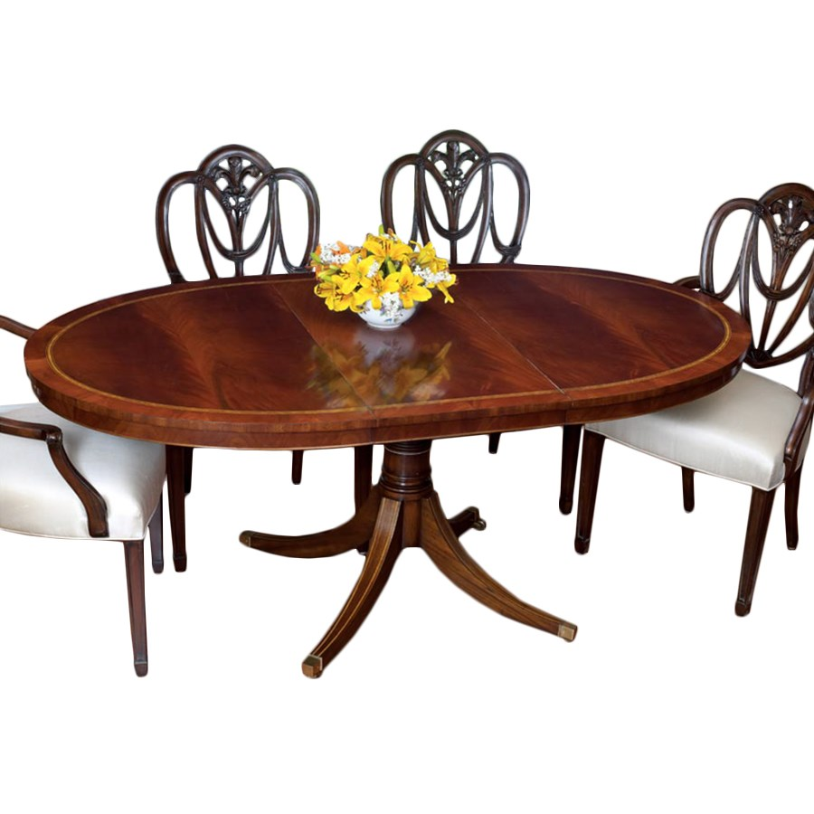 Mahogany oval dining table and heart shield back chairs for Dining table table and chairs