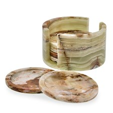 Renaissance Whirl Green Onyx Coasters S/6