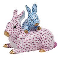 Herend Kingdom Classic Bunnies, Raspberry & Blue