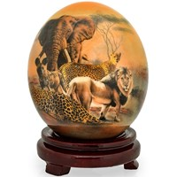 Decoupage Ostrich Egg with Leopard, Hyena & Elephant