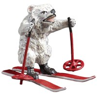 Austrian Bronze Polar Bear on Skis Figurine