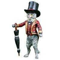 Austrian Bronze Cat Butler with Umbrella Figurine