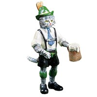 Austrian Bronze Cat in Lederhosen Figurine