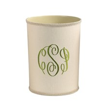 Monogrammed Wastebasket and Tissue Box Cover, Bone Linen
