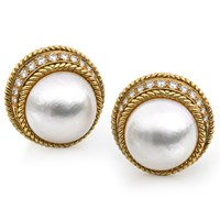 Mabe Pearls and Round Diamond Earrings
