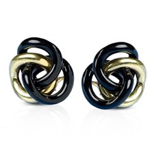 Gold & Onyx Love Knot Earrings