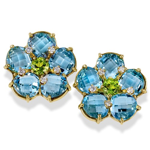 18k Gold Blue Topaz and Peridot Cluster Earrings with Diamonds