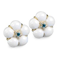 White Agate Flower Earrings with Diamonds and Blue Sapphire