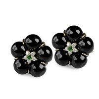 Onyx Flower Earrings with Diamonds and Chrome Diopside