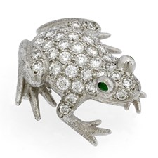 18k White Gold Frog with Diamonds Pin