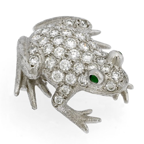 18k White Gold Frog Pin with Diamonds & Emerald Eyes