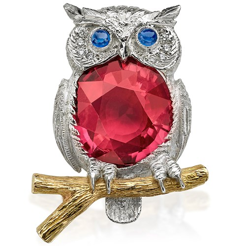 18K White Gold and Tourmaline Owl Brooch