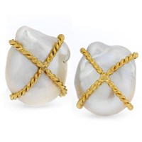 18k Yellow Gold Kiss Freshwater Pearl Earrings with Clips