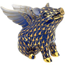 "Herend ""When Pigs Fly"" Figurine, Cobalt"