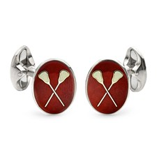 Sterling Silver Red Lacrosse Cufflinks