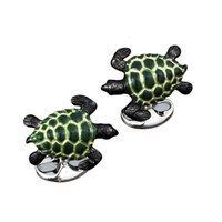 Sterling Silver and Enamel Swimming Turtles Cufflinks