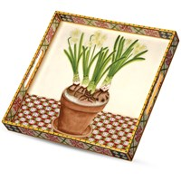 Narcissus in Pot Lacquer Tray