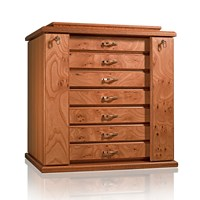 Elm Briar and Mahogany Locked Jewelry Chest