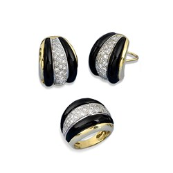 Black Onyx, Gold and Diamond Earrings and Rings