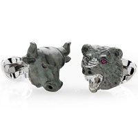 Sterling Silver Oxidized Bull and Bear Cufflinks