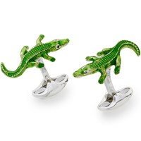 Sterling SIlver Crocodile Cufflinks