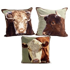 Bull & Cow Needlepoint Pillows