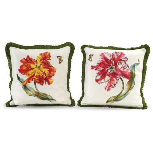 Handpainted Flaming Parrot Tulips Silk Pillows
