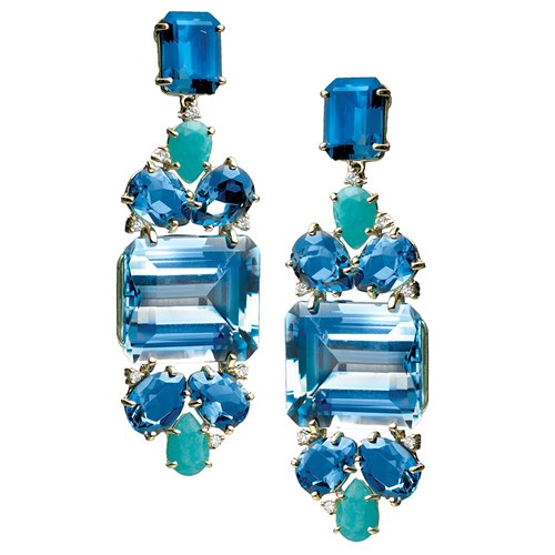 18k Gold Brazilian Exotic Gemstone Geometric Drop Earrings