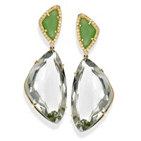 18k Gold Praziolite & Mint Green Quartz Earrings with Diamonds, Posts