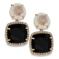 18k Rose Gold Earrings with Black and Opal Quartz & Diamonds