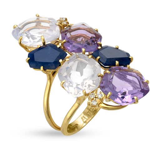 18k Gold Multi-Shape Amethyst & Quartz Ring with Diamonds