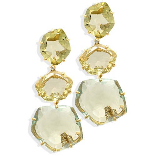 18k Gold Triple-Drop Quartz & Praziolite Earrings
