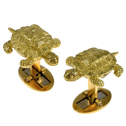18K Yellow Gold Turtle Cufflinks with Gold Eyes