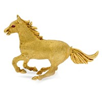 18k Gold Mustang Horse Pin with Ruby Eyes