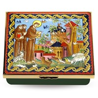 Halcyon Days Prayer of Saint Francis of Assisi Enamel Box