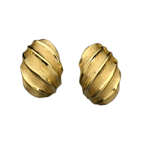 Fluted Swirls Gold Earrings