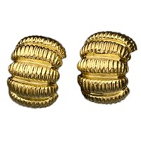 Ribbed Gold Earrings