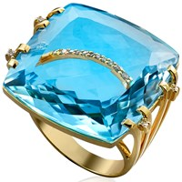 Blue Topaz Cocktail Ring with Two Diamond Bands