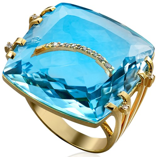 18K Yellow Gold Blue Topaz & 2-Band Diamond Cocktail Ring
