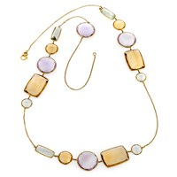 18k Yellow Gold Necklace with Multi-Color Citrine
