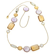 18k Yellow Gold Multicolor Citrine Necklace