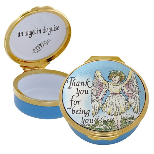 Halcyon Days Thank You for Being You, an Angel in Disguise Enamel Box
